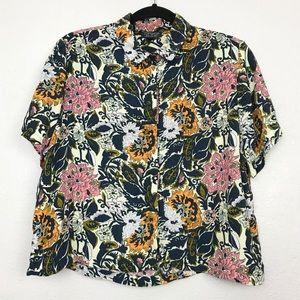 TopShop Floral Button Down Crop Top Sz 8